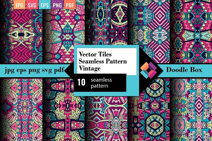 10 Vector Doodle Seamless Pattern Pack