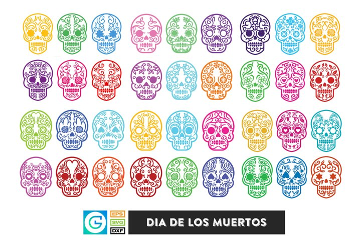 36 Dia de los muertos SVG, Day of the dead, sugar skull