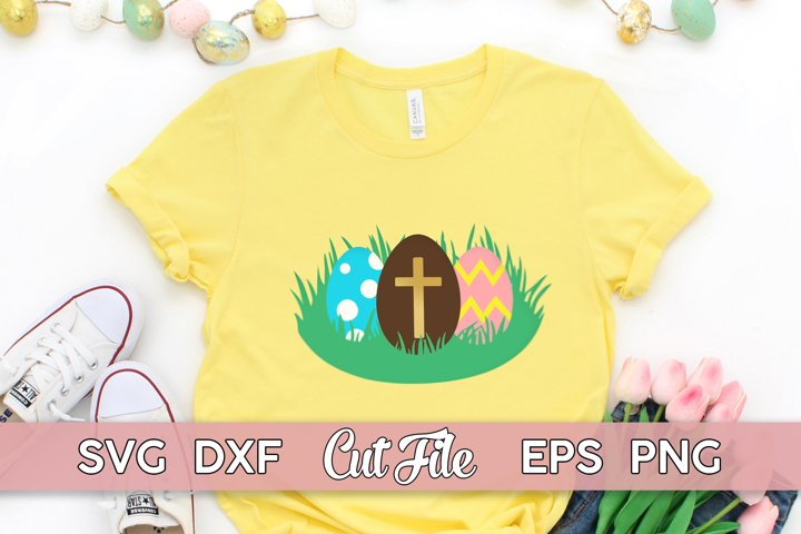 Easter Eggs SVG with cross | Religious Easter Shirt