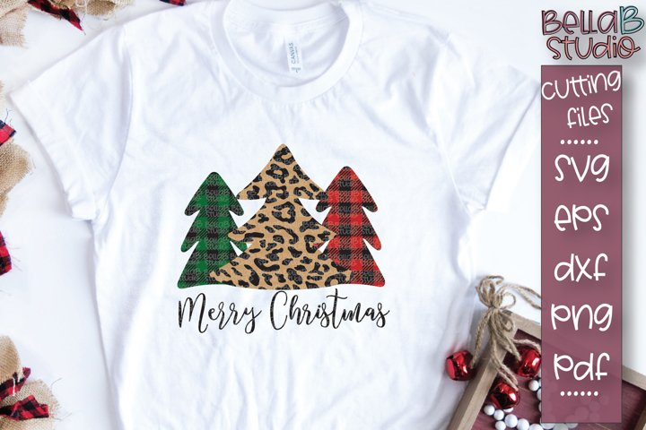 Merry Christmas SVG, Leopard Print Christmas Tree SVG, Plaid