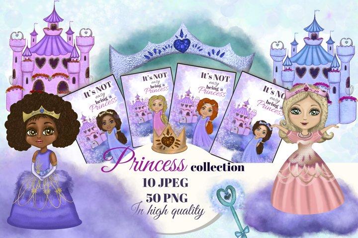 Princess big collection clipart. Fairytale castle clipart.