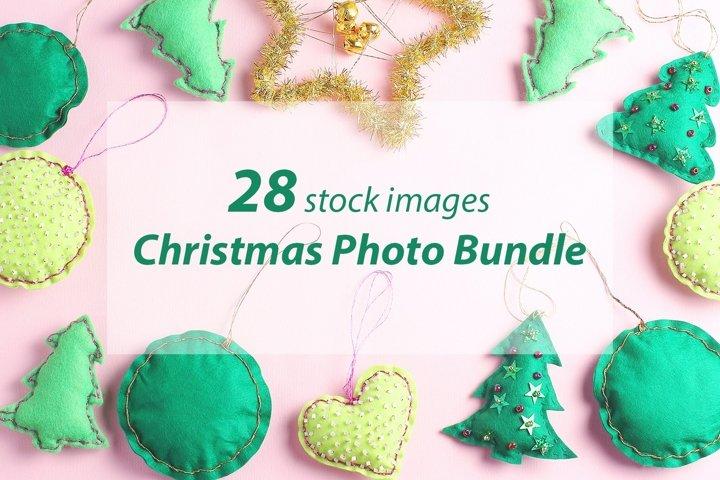Beautiful Christmas photo bundle. Pink background.