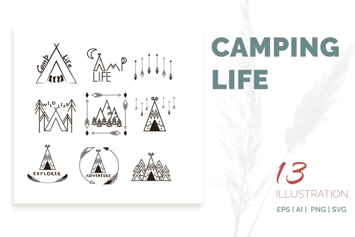 Camping life Graphic. 13 illustration in doodle style
