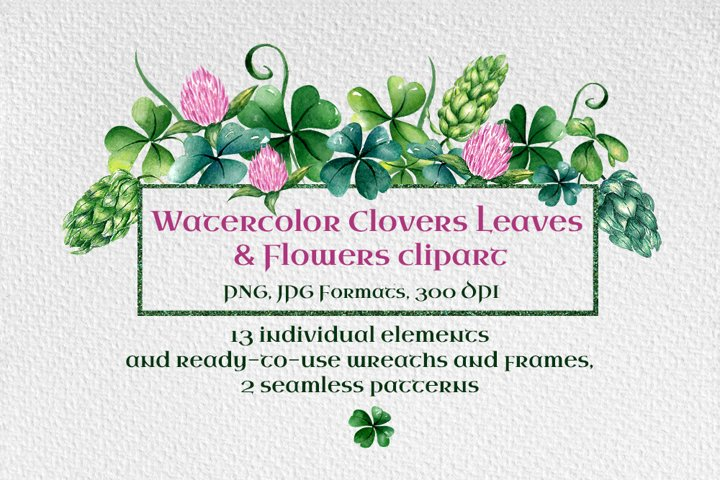 Clovers Leaves Shamrock & Flowers clipart. St.Patricks Day
