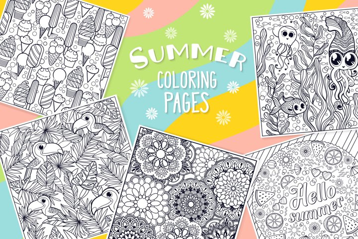 Summer Coloring Page Bundle- 10 vector items example
