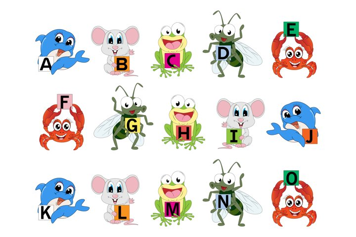cute animal with alphabet letters