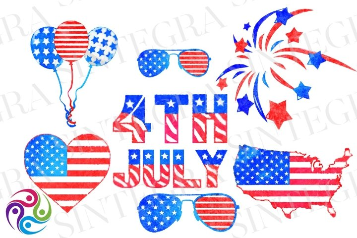 4th of July Watercolor Clipart Bundle