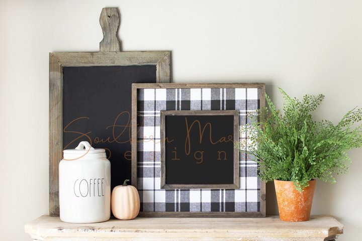 Fall Wood Framed Sign Mock Up Photo Stock Pho