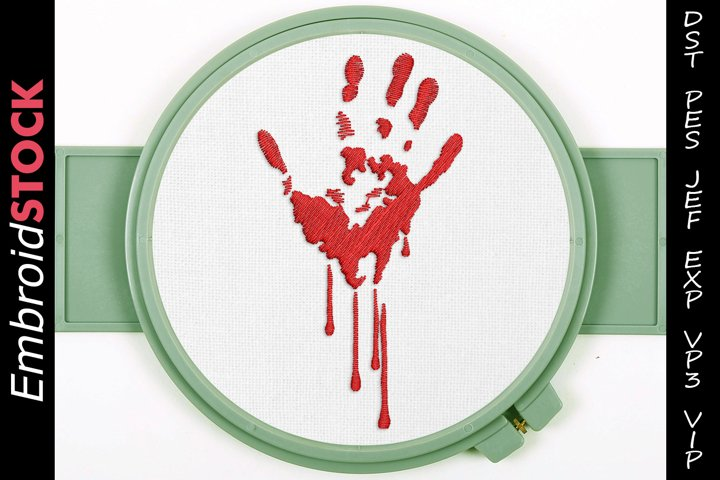 Horror Bloody Hand Embroidery Design