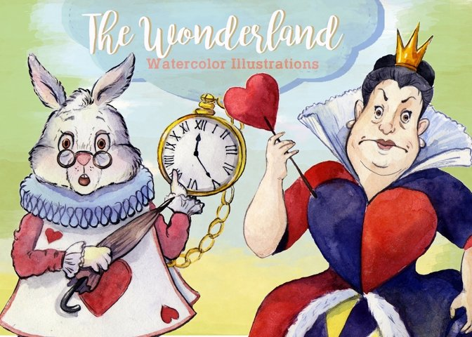 Watercolor Alice in Wonderland Clipart by Whimseez