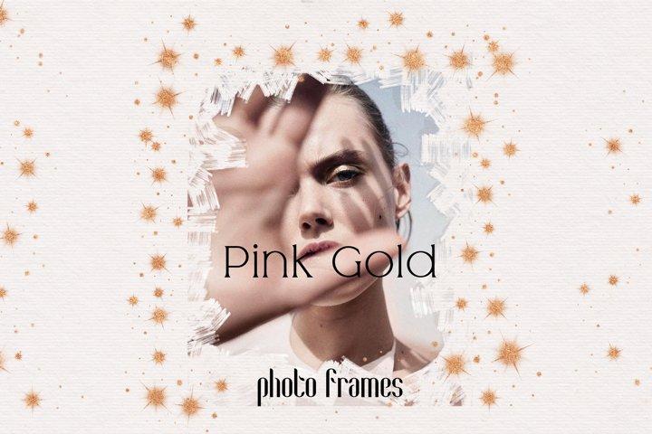 Pink Gold Photo Frame Overlays