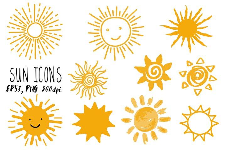 Doodle Sun icons set