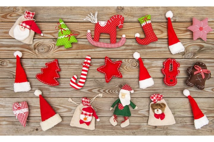 Christmas decoration toys ornaments rustic wooden background