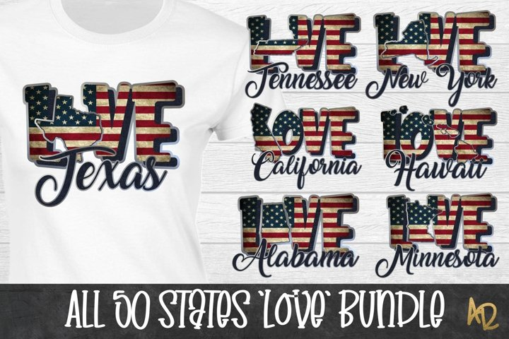 50 States Love Bundle | American Flag | Sublimation PNGs