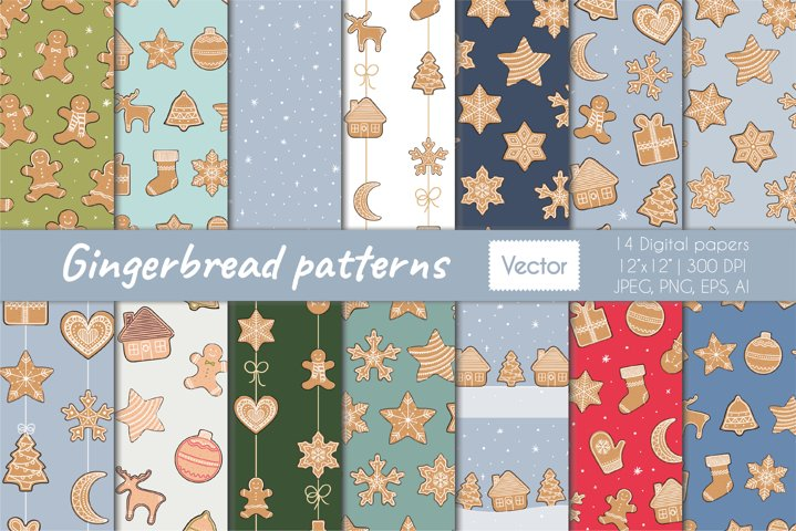 Christmas gingerbread vector seamless patterns collection