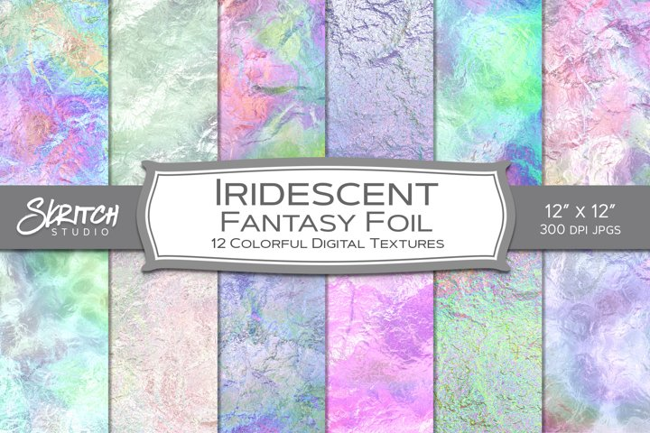 Iridescent Fantasy Foil - 12 Colorful Digital Textures