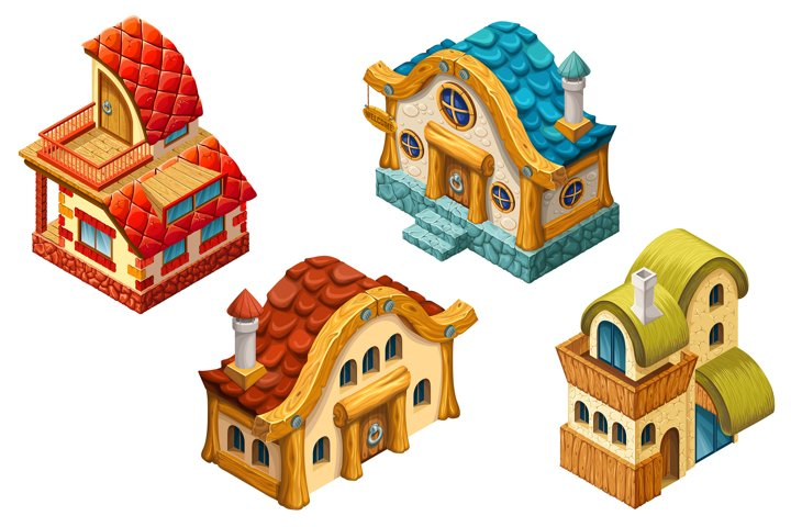 3d isometric cottages for computer games.