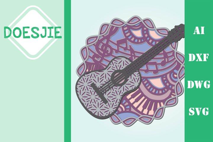 Multi layer mandala music instrument guitar