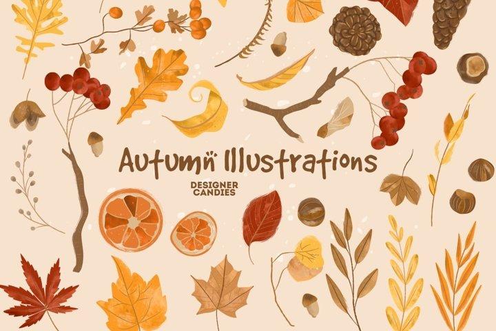 Autumn Fall Thanksgiving Vector Illustrations