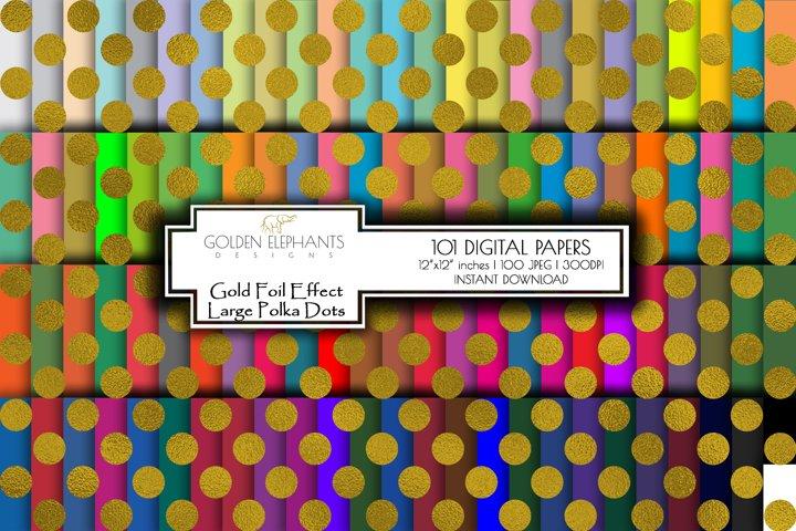 100 Gold Foil Effect Large Polka Dot Digital Paper, Seamless