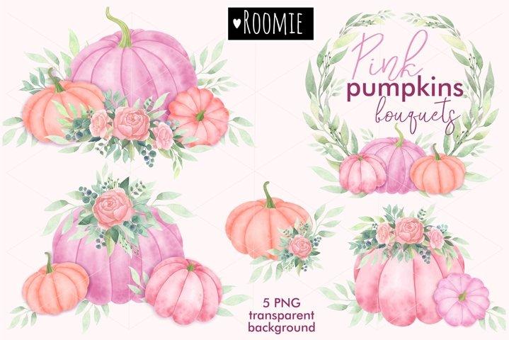 Watercolor Pink pumpkins, Floral Bouquets PNG clipart, Peony