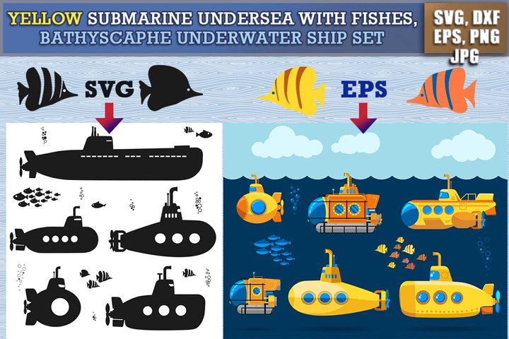 Yellow Submarine undersea with fishes SVG, PNG, Vector