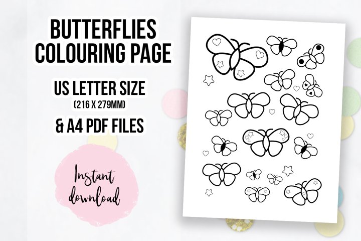 Cute Butterflies Coloring Page | Colouring Book Page