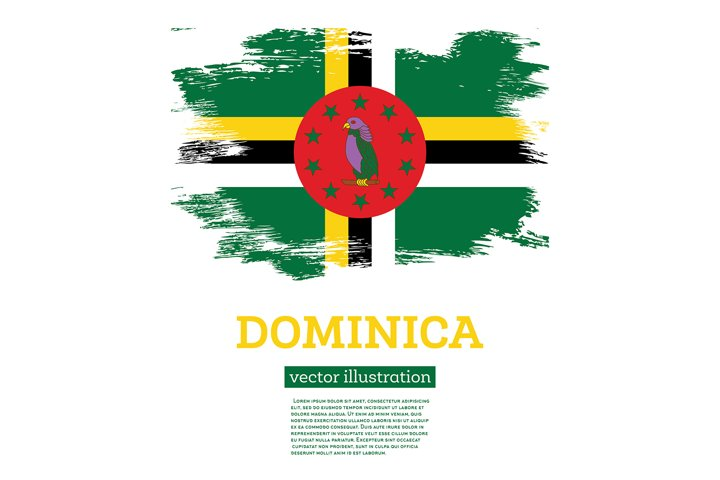 Dominica Flag with Brush Strokes.