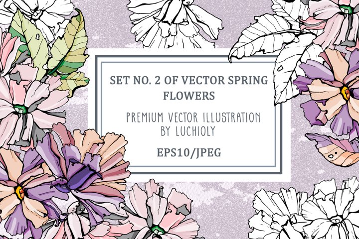 Set No. 2 of vector spring flowers