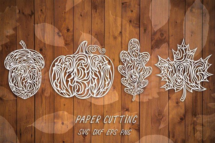 Autumn paper cut template SVG,Oak,Maple leaf,Pumpkin,Acorn