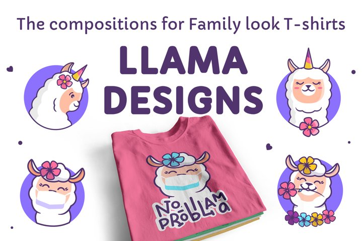 Cute llamas. T-shirt designs