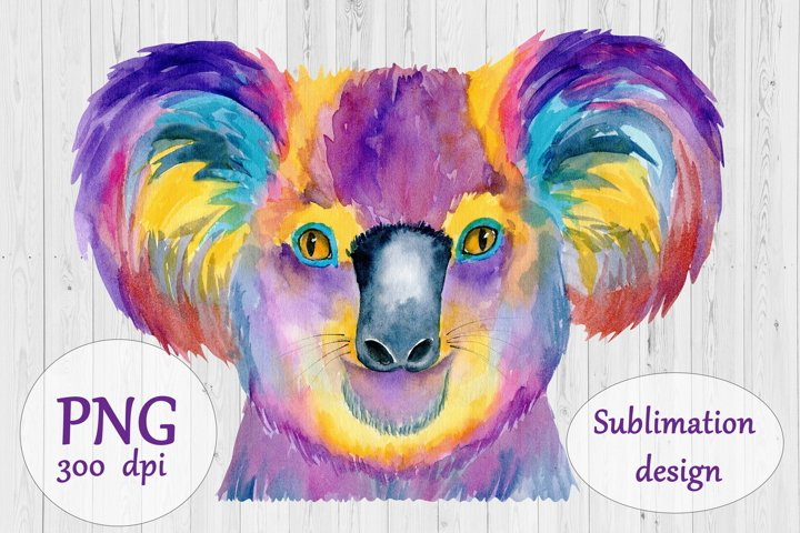 Watercolor Koala Bear Sublimation Design - Animal PNG