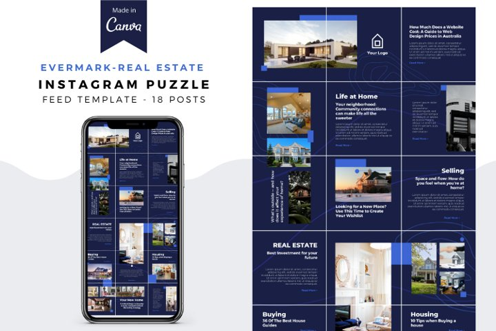 Evermark Real Estate, Instagram Puzzle Template Canva