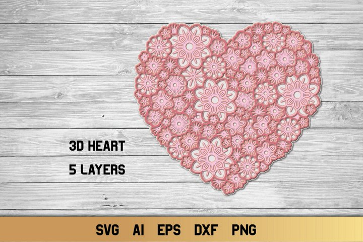 3d Layered Floral Heart | Multi Layer SVG Cut File
