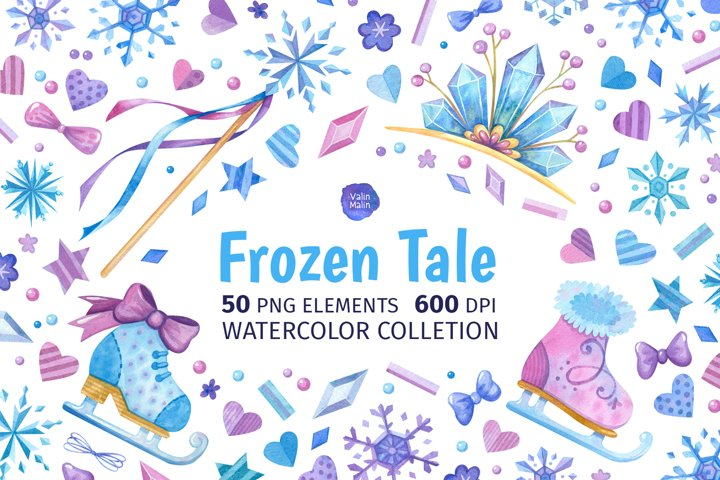 Frozen clipart. Watercolor Winter clipart