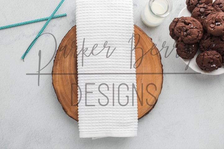 Waffle Weave Kitchen Towel with chocolate cookies Mockup