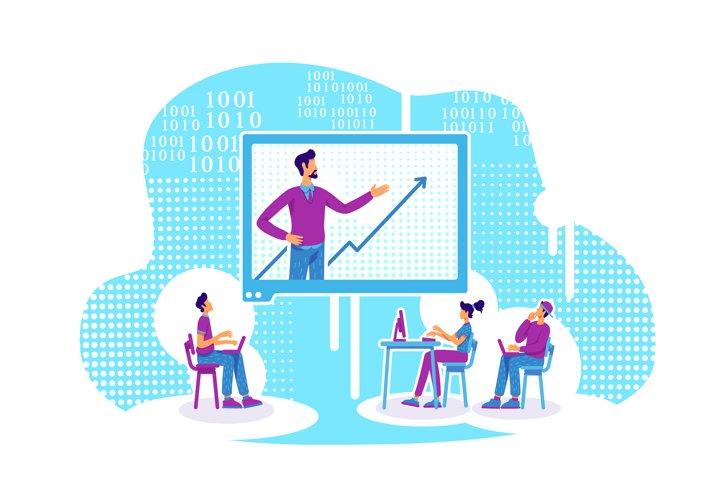 E mentoring flat concept vector illustration