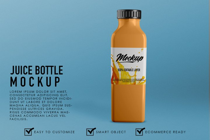 Premium Realistic Juice Bottle Container Mockup Template