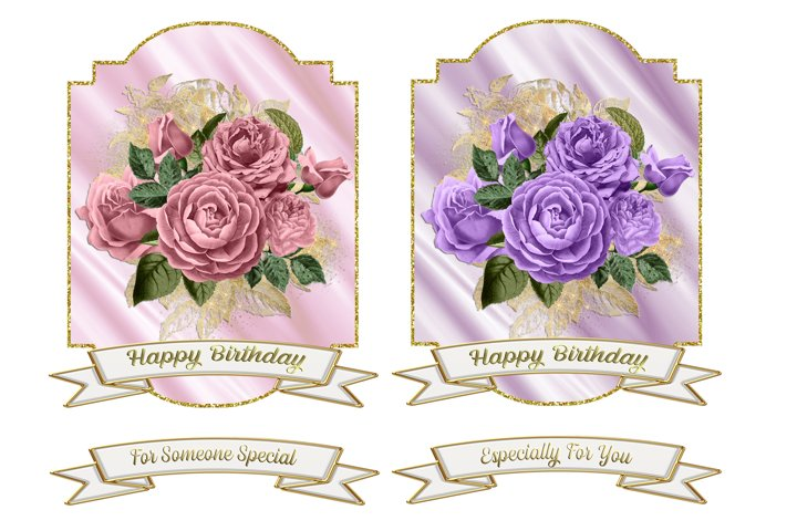 Gold Framed Floral Toppers & Banners