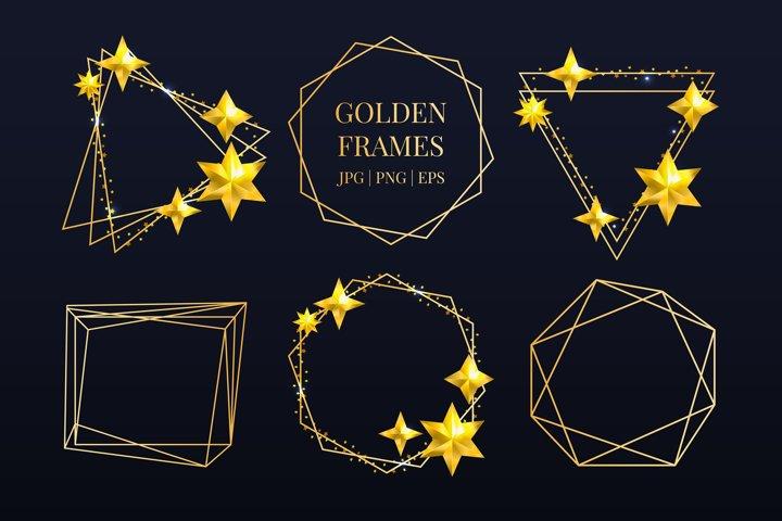 Christmas Vector Golden frames set