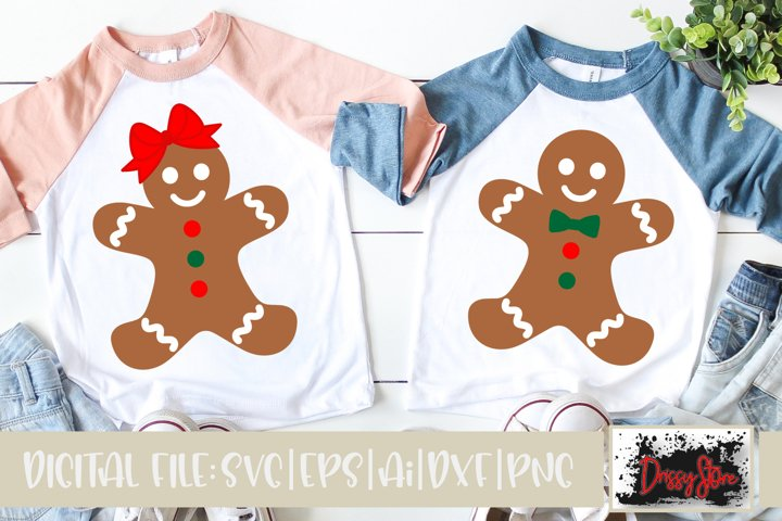 Christmas SVG DXF EPS PNG Gingerbread boy and girl