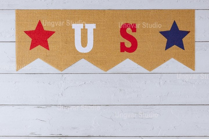 Patriotic holiday with decor US letters American symbol