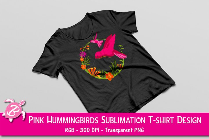 Sublimation Design For T Shirts - Pink Hummingbirds