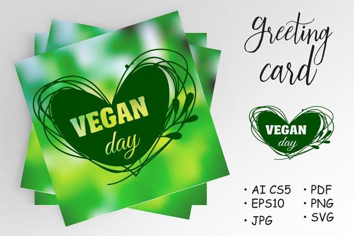 International Day for vegetarians. Nov. 1. Vegan Day. Heart
