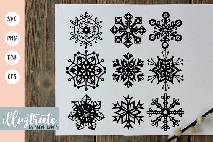 Snowflake SVG Cut File Bundles | Christmas SVG | Snowflakes