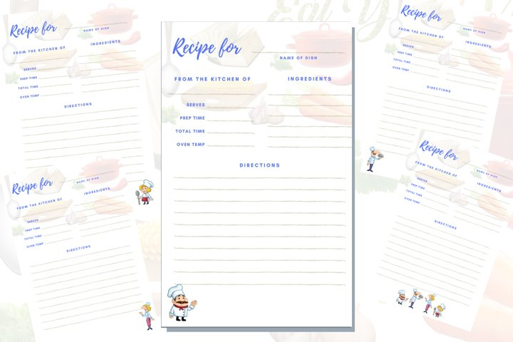 Recipes digital printable pages