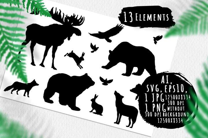 Wild forest animals silhouettes bundle