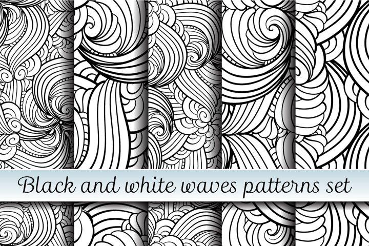 Black and white waves patterns set