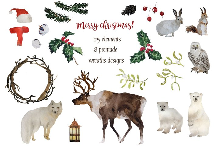 Christmas wreaths and winter animals collection