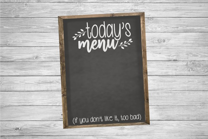 Today's Menu | Kitchen | Kitchen SVG Cut File example